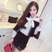 Small Fragrant Solid Two Piece Set Tweed Pearls Skirt Suit 2019 Spring Women Casual Jacket Coat Skirt Set