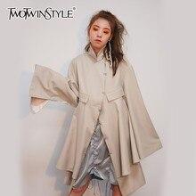 TWOTWINSTYLE Irregular Women Coats Back Hollow Out Long Sleeve Korean Oversized