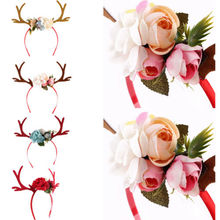Новое поступление, Рождественская повязка на голову с оленьими рогами для женщин и девушек, милый цветочный ободок для вечеринки, повязка на голову