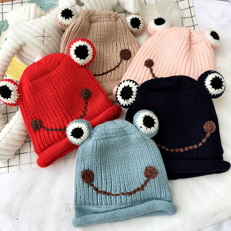 Lovely Cartoon Hats Caps Double Knit Frog Smile Face Children Kids Fall Winter   Skullies     Beanies   Korea Handmade Accessories