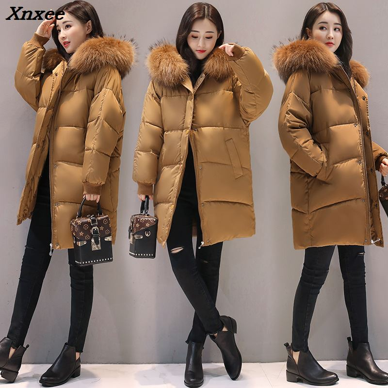 2018 New Fashion Hooded Larger Fur Collar Women Winter Jackets and Coats Female Cotton Padded Long   Parkas   Ladies Snowwear Xnxee