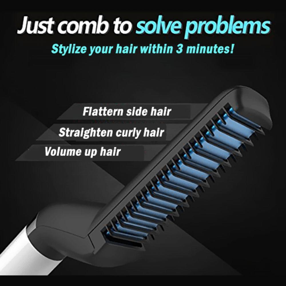 Men Hair Straightener Curling Iron M Styler Men's All In One Ceramic Hair Styling Iron Comb Curler Set Quick Hair Styler
