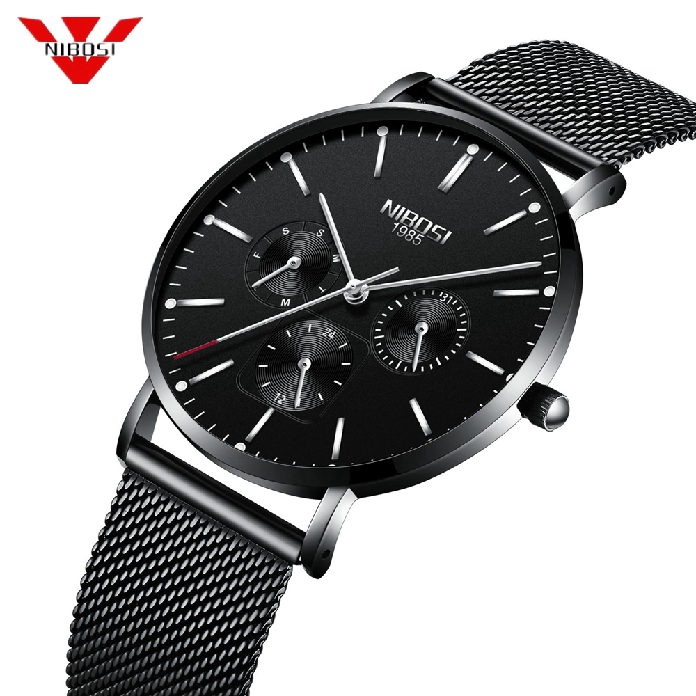 NIBOSI Men Watch 2018 Stainless Steel Ultra Thin Luxury Watches Men Classic Quartz Men's Wrist Watch Men Clock Relogio Masculino longbo ultra thin stainless steel quartz wrist watch for men silver