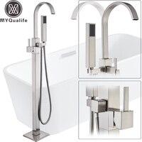 Матовый никель для ванной кран Отдельно Стоящая Ванная комната Ванна смеситель с ручным душем Swive носик напольные душ смесителя