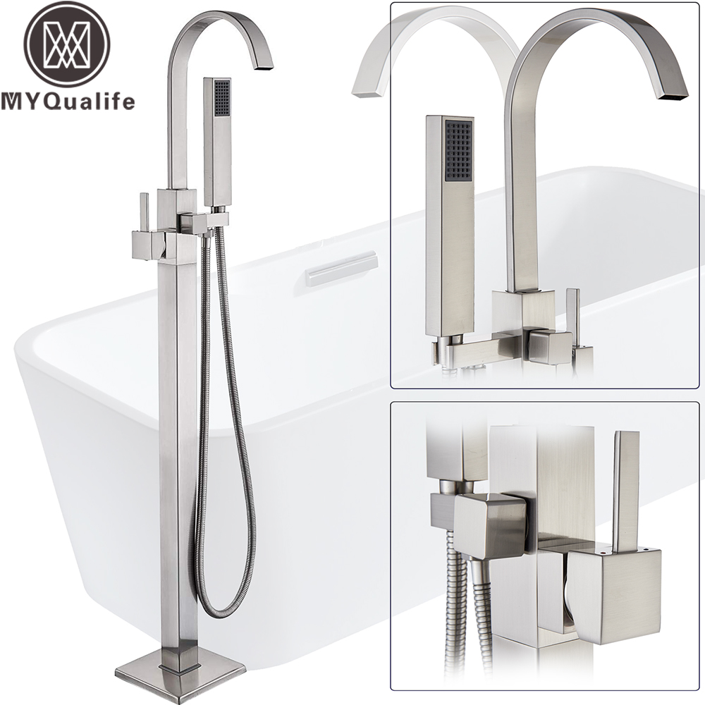 Brushed Nickel Bathtub Faucet Freestanding Bathroom Tub Faucet with Handshower Swive Spout Floor Mounted Bath Shower Mixer Tap