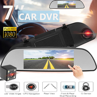 7 Inch Touch Screen Car DVR Dual Lens Camera Rearview Mirror Video Recorder Dash Cam Auto Portable Recorder + Reverse Camera