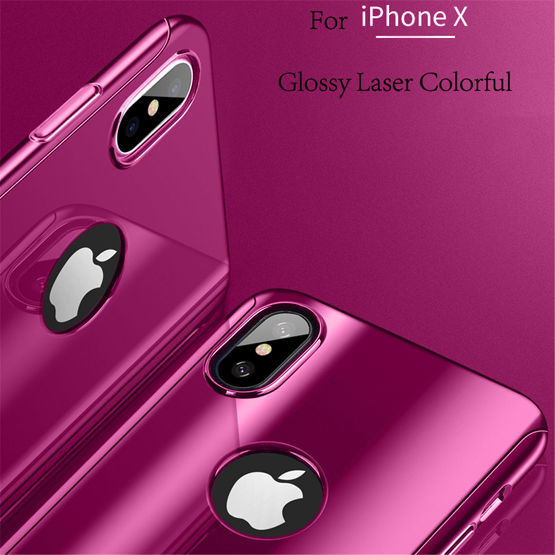 Kinbom 360 Plating Mirror Case For IPhone 6 6s 7 8 Plus Luxury Protective Cover With Glass For IPhone X Case Shockproof Shell in Fitted Cases from Cellphones Telecommunications
