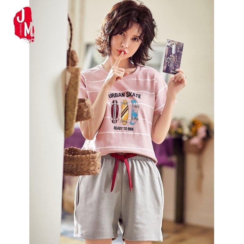 2019 Summer Short Sleeved   Pajamas     Set   Women Cotton Sleepwear Suit Cartoon Pyjama   Sets   Homewear Animal   Pajamas   Pijama Mujer