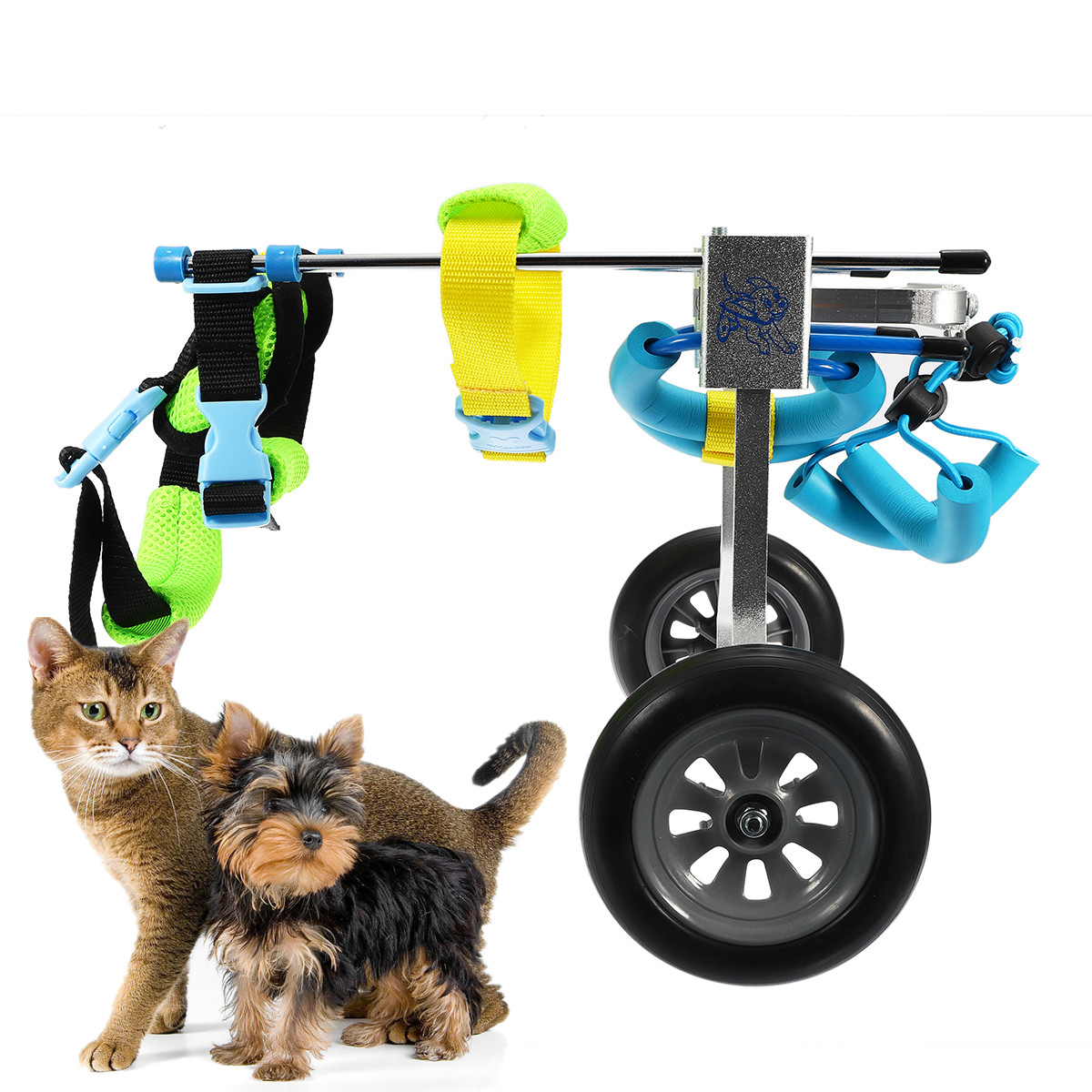 Pet Wheelchair For Handicapped Cat Dog Doggie Puppy Walk Traction Rope Cart Kit Accessories Light Portable Adjusted Taken Apart image