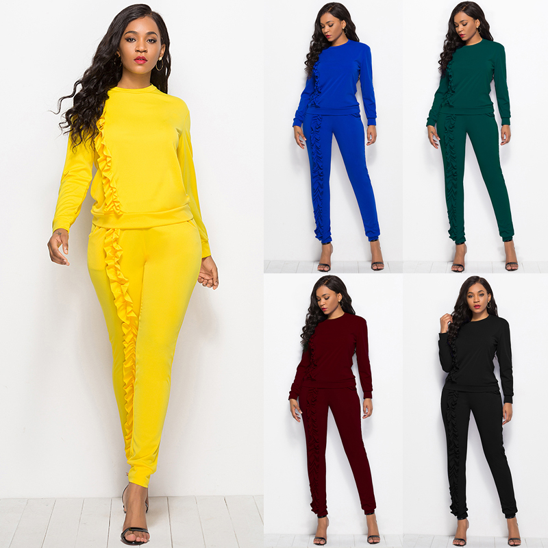 2019 Autumn New Solid Two Piece Sets Women Long Sleeve Round Neck Tops Trousers Ruffles Tracksuit Set 2 Piece Sets Ladies Suits 36