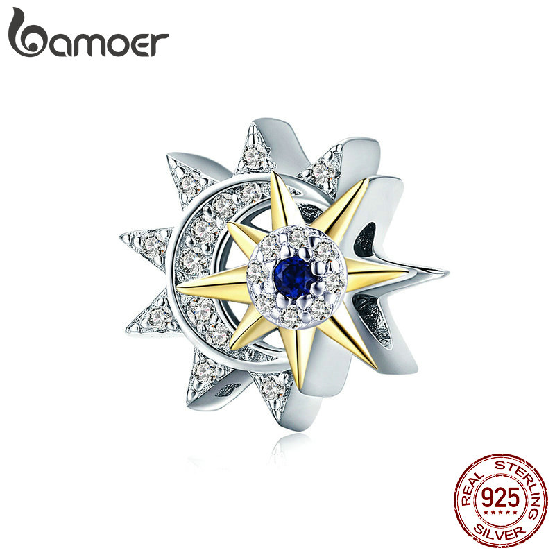 BAMOER Genuine 925 Sterling Silver Sun Meet Moon Luminous CZ Beads Charms fit for Women Bracelets Luxury DIY Jewelry SCC1137