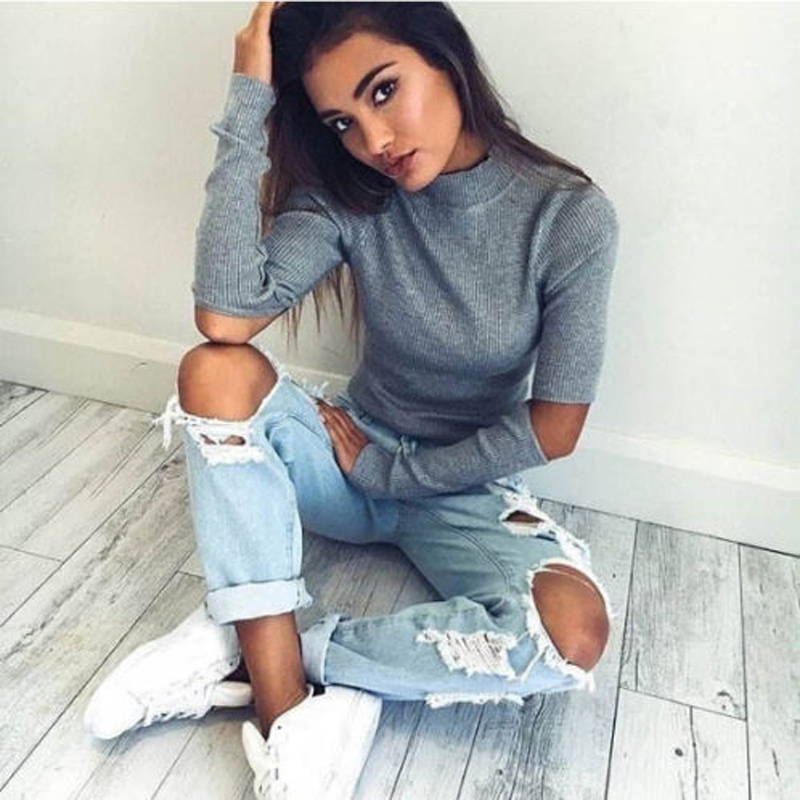 Autumn New in 2018 Sexy Women Jumper Solid Elbow Hole Long Sleeve Sweater Crop Top Coat  Pullover Tops
