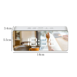 Image 4 - Led Mirror Alarm Clock Digital Snooze Table Clock With Thermometer USB Rechargeable Large Electronic Display Multifunction
