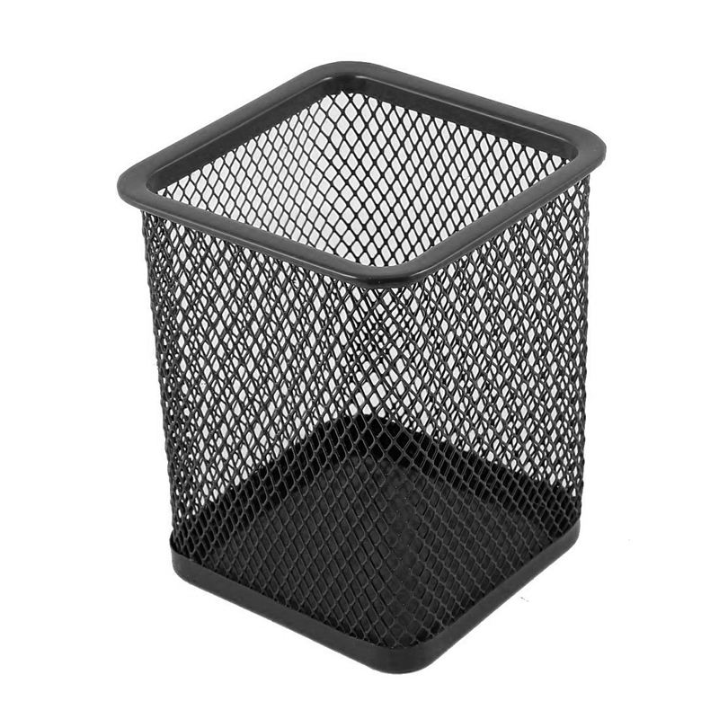 Office Metal Mesh Table Storage Organizer Pen Pencil Holder Square Round Cosmetic Container