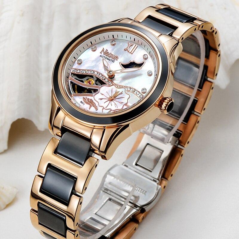 NESUN Femmes Creux Automatique Mécanique Montres De Luxe Marque Horloge Étanche Mode Phase de Lune Montre-Bracelet Dames Reloj Mujer