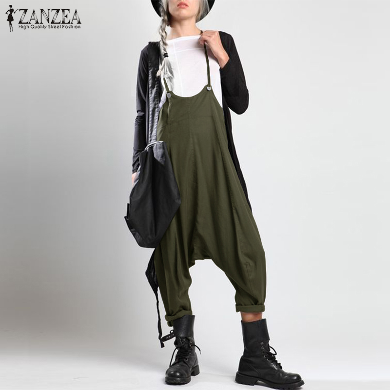 ZANZEA 2019 Summer Strappy Party Jumpsuits Rompers Women Casual Solid Pockets Loose Drop Crotch Playsuits Suspenders Overalls