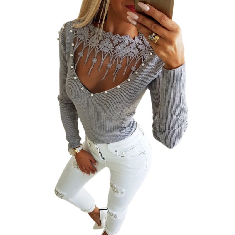 New-fashion Lace Shirt Top Pearl Beading Knitted Blouse Pearl Lace Women Patchwork Tops Lace Tassel O Neck Long Sleeve Slim El
