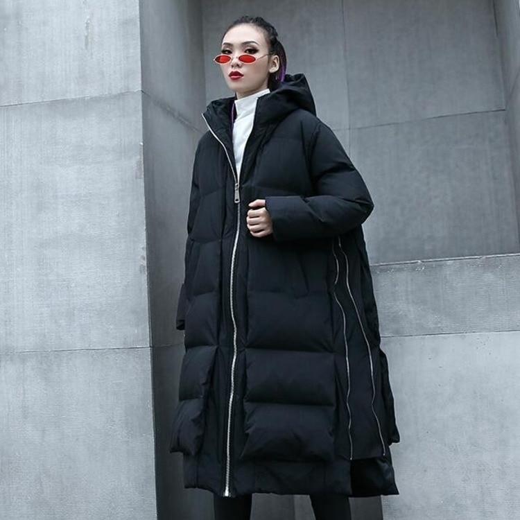 Plus yellow Manteaux Taille Streetwear Casaco Lâche Capuchon Mode De Black Jaune Parka Zipper Inverno 0780 Femmes 2018 À Côté Manteau Feminino D'hiver 1z50w
