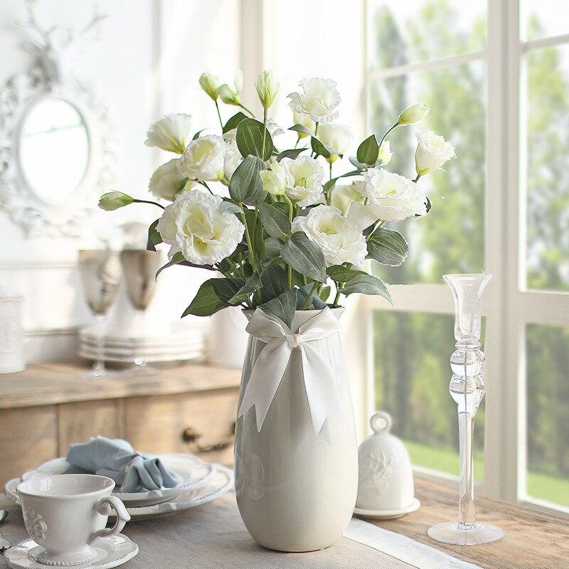 4 Head Simulation Eustoma Grandiflorum Flowers Artificial Living Area Home Furnishings Corsage