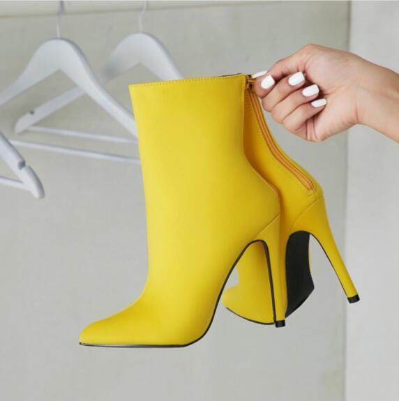 Nouveau cuir daim femmes bottines Sexy bout pointu Slip femmes bottes chaussures femmes moto chaussures
