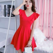 New Fashion Ladies Summer Ruffles Mini Dress Women  V-Neck Sweet Solid A-Line Party Dresses