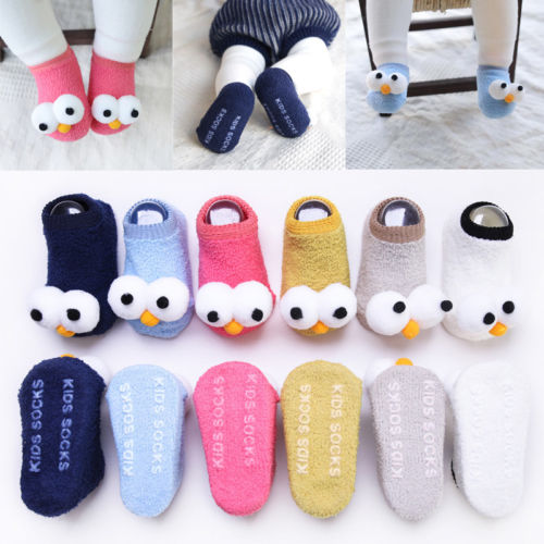 Hot New Cute Newborn Kids Baby Girls Boys Anti-Slip Warm Cartoon Socks Slipper Shoes Boots