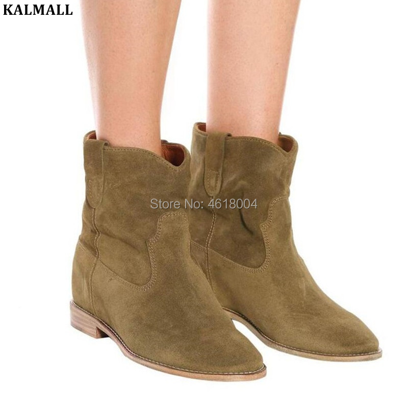 huge selection of b4b31 e8c86 US $77.4 40% OFF|KALMALL Classic Distressed Ankle Boots Women Slip On Biker  Boots Crisi Suede Wedge Booties Retro Style Motorcycle Booties Martin-in ...