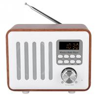 Portable Retro FM Radio Wooden Box Bluetooth 5.0 Radio Clock Receiver Music Player with LED Display Support U Disk TF Card New