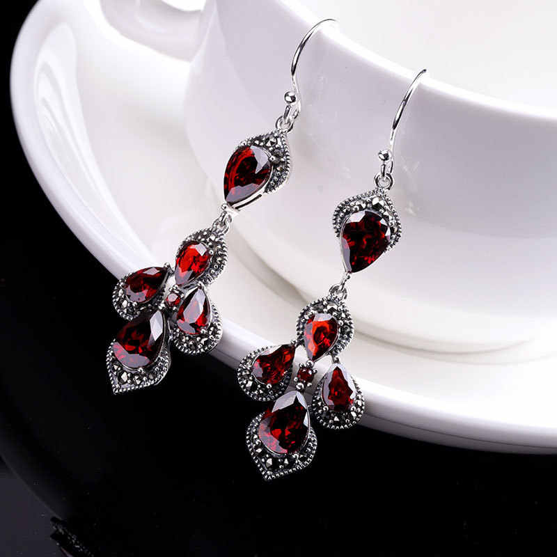 Authentic 925 Sterling Silver Earrings Jewellery Women Earings For Wedding Party Red Garnet Tassel Valentine Day Gift SE99