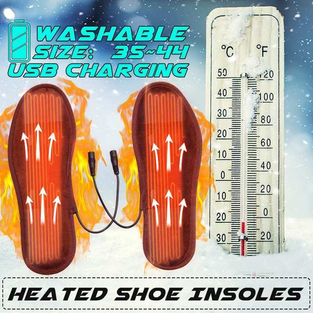 USB Electric Heated Insoles Soles Foot Warmer Heat Boots Shoes Pad Winter  Soft Fleece Heating Pad for Men Women b954553e8aa0
