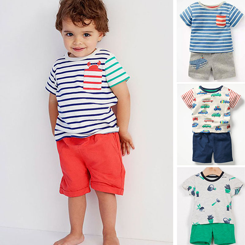 New 2019 Baby Boys Clothing Set Quality 100% Cotton Toddler Kids Clothes Short Sleeve Baby Boy Clothes Set Children Suit Outwear