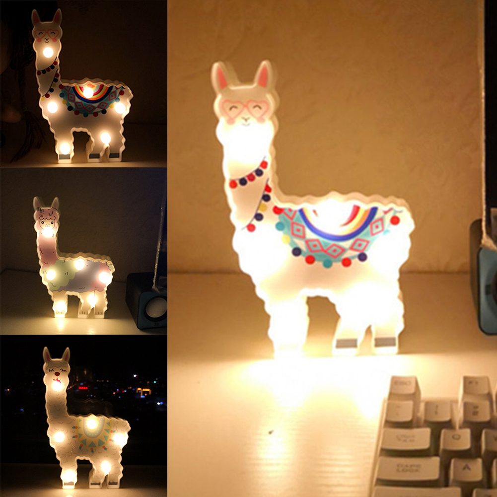 6leds Cute Bedside Night Lamp Path Battery Powered Gift Desktop Hanging Decorative Light Alpaca Shape