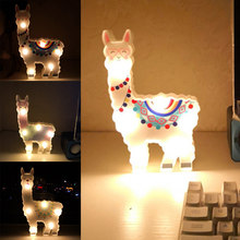 6leds Cute Bedside Night Lamp Path Battery Powered Gift Desktop Hanging Decorative Light Alpaca Shape(China)