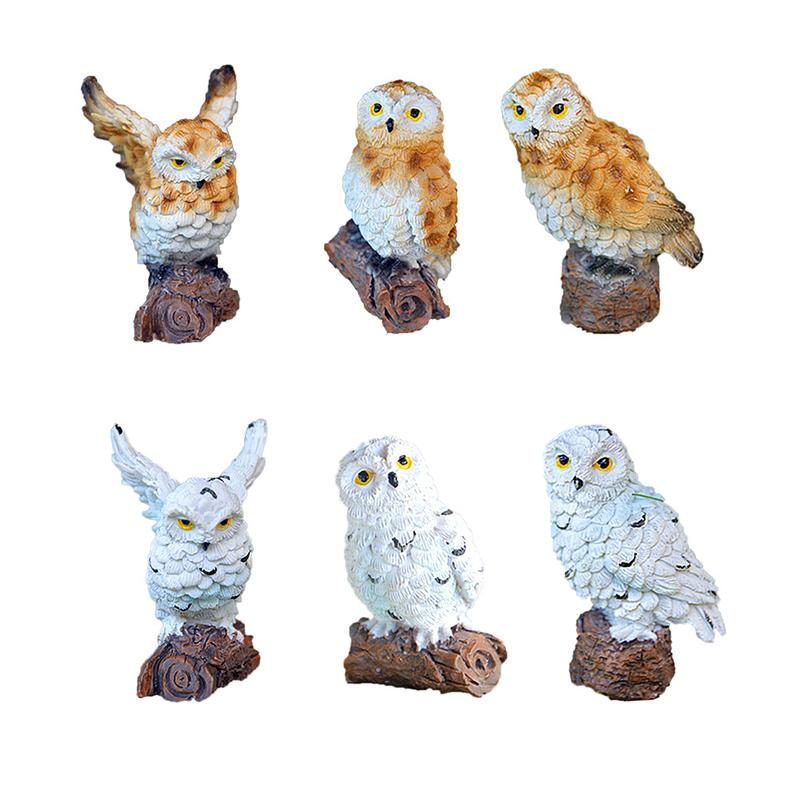 Resin Imitation Mini Owls Miniature House Fairy Garden Micro Landscape Garden Outdoor Patio Decoration Plant Pots Bonsai Craft