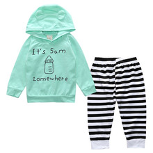 цена на 2 Pcs Floral Baby Boy Girl  Letter Hooded Clothing Set Infant Babies Kids Hoodie Printed Tops+Stripe Pants Outfits Clothes