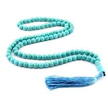 Pedra azul borla em forma redonda 99, oração, contas, rosário islâmico, tasbih, alá, baha, tesbaha, sibha, subha tespeeh