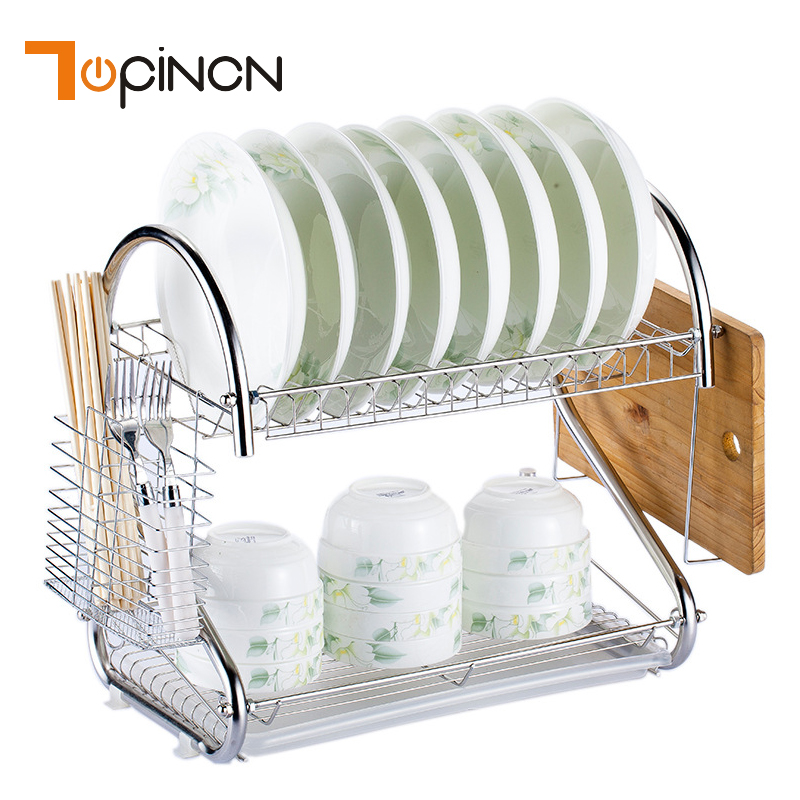 S Shaped Dish Rack Set 2 Tier Chrome Stainless Plate Dish Cutlery Cup Rack With Tray