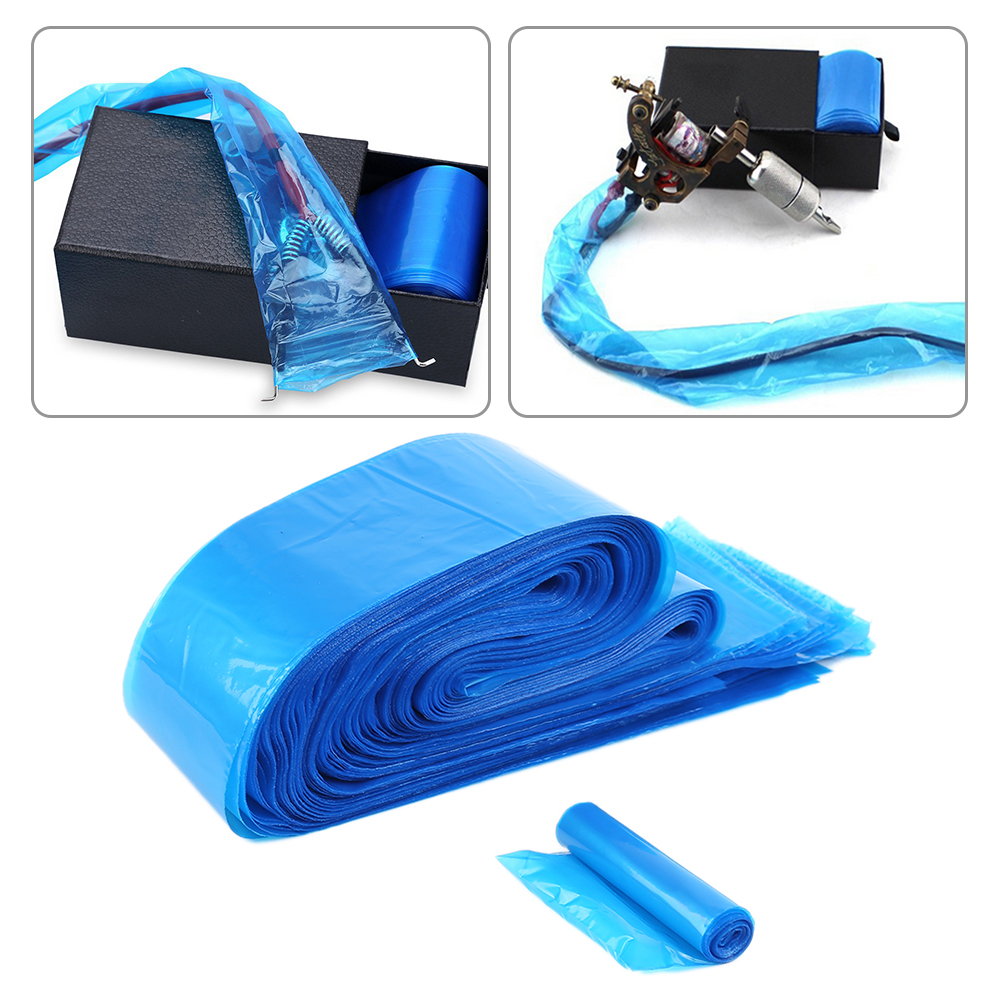 100Pcs/pack Disposable Blue Tattoo Clip Cord Sleeves Bags Covers Bags For Tattoo Machine Tattoo Accessory Permanent Makeup