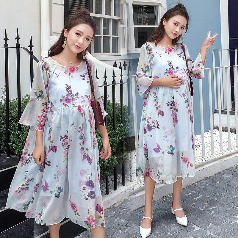 72b1674b67359 Aliexpress.com : Buy Pengpious 2019 summer pregnant woman chiffon dress  maternity clothes plus size half flare sleeve high waist printed dress  sweet from ...
