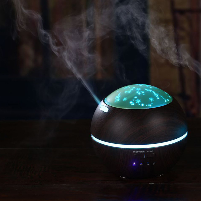 Us Plug 150Ml Aromatherapy Essential Oil Diffuser, Ultrasonic Humidifier With Wood Grain, Cool Mist And Colorful Projection Ho