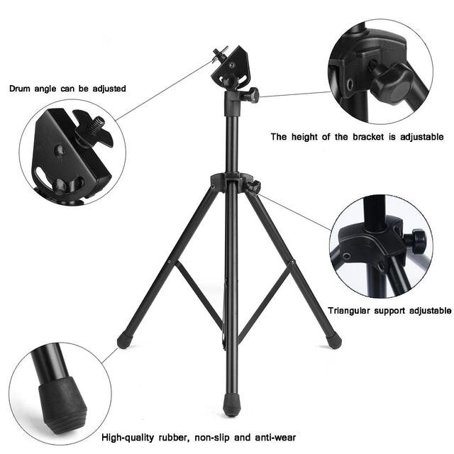 Adjustable Metal Practice Training Three-legged Drum Pads Cymbal Stand Hardware Mount Braced Drum Holder Tripod with Case Parts