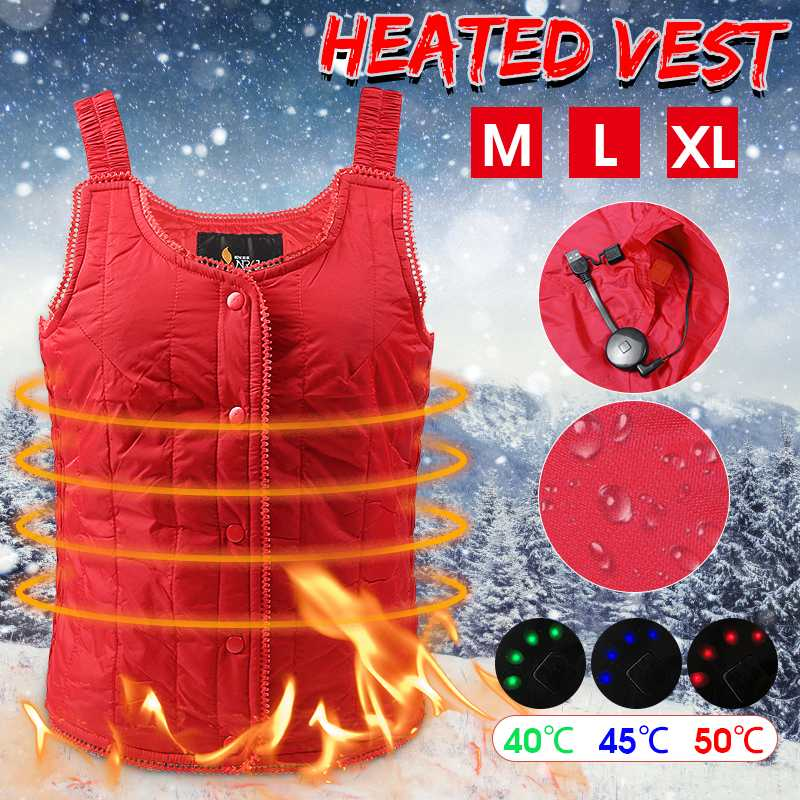 Women Electric Heated Vest Carbon Fiber Heating Waistcoat USB Thermal Warm Cloth Winter Jacket For Outdoor Sports Hiking