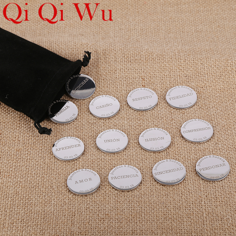 цены Spanish Wedding Arras Coins Personalizadas 13 Round Pendants Stainless Steel Custom Engraved Name Pendant For Wedding Ceremony