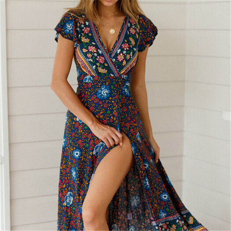06c0b94799a2d Women Boho Floral Printed Dress 2019 Summer Holiday Beach Long Maxi Evening  Party Dress Chic Ethnic Style V neck Split Dresses-in Dresses from Women's  ...