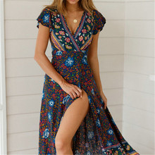 Женское платье с цветочным принтом в стиле бохо, лето, праздничное пляжное Длинное Макси вечернее платье, шикарное этническое стильное платье с v-образным вырезом и разрезом