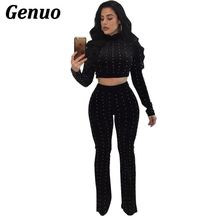 Genuo Women Autumn Winter Velvet Two Piece Set Casual Warm Velour Tracksuit Long Sleeve Crop Top and Pant 2 Sets Outfit