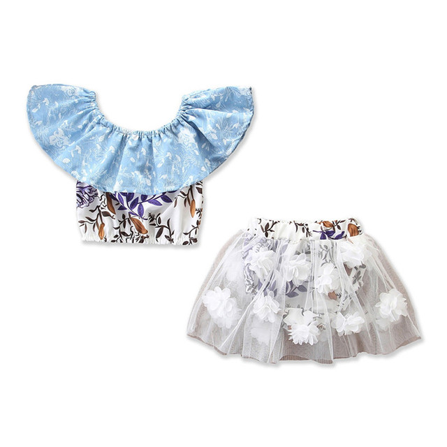 7c3cc0f1d379 Boho Summer Newborn Baby Girls Outfits Clothes Floral Slash Neck Crop Tops  3D Flowers Eastic Waist Tulle Tutu Skirts 2Pcs 6M-2Y
