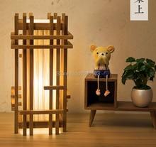 Japanese-style Teak Wood table lamps for living room Led Bed lamp bedside light Tafellamp bedroom