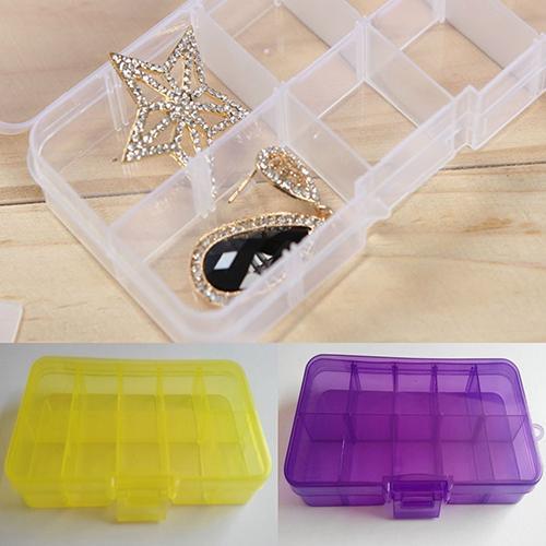 Plastic 10 Slots Adjustable Jewelry Storage Box Pill Beads Holder Case Organizer Home Storage & Organization