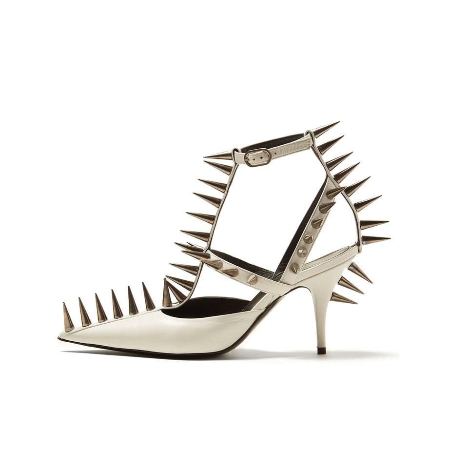 Femmes Pompes Chaussures Hauts Nouveau Plate Long Black 2019 Es D'été Clou Sexy red white Pour Sharp forme Femme Wedge Clouté Talons Rivets wwpzqBa